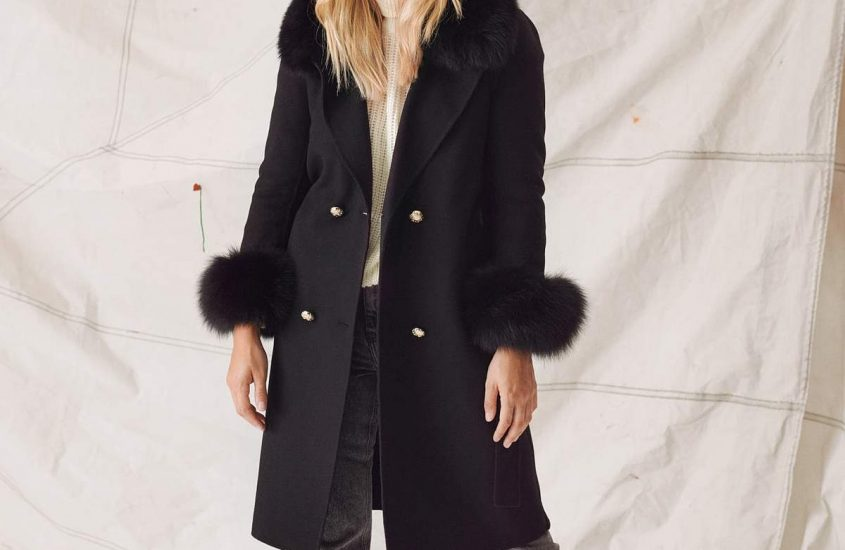 Cashmere coat with real fur
